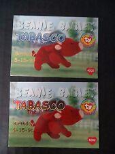 Ty Beanie Babies Bboc Series I S1 Red & Blue Birthday Cards Set Card 48 Tabasco