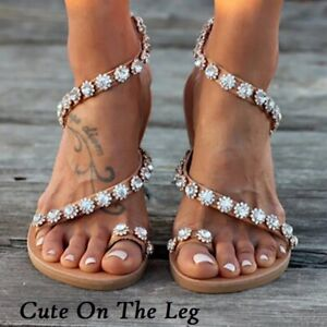 New 2021 Beautiful Women Flat Sandals Bling Crystal Cute On The Leg Best Sandals