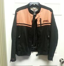 VINTAGE HARLEY DAVIDSON Mens Jacket Size M Black Orange Harley Emblem Lined