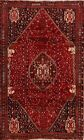 Vintage Tribal Hand-Knotted Abadeh Geometric Area Rug Wool Oriental Carpet 5x9