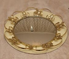 50s 60s ROUND WALL MIRROR, Vintage GOLD METAL, Retro HALL, BEDROOM DECOR