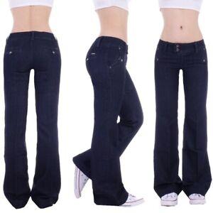 Damen Marlene Schlaghose Schlag Bootcut Hüftjeans weites Bein Denim Jeans S18