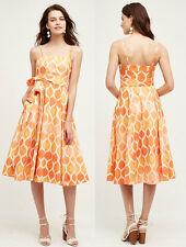 ANTHROPOLOGIE NWT Freya Poplin Dress by Maeve Orange Cotton Midi Sz 2 XS $168