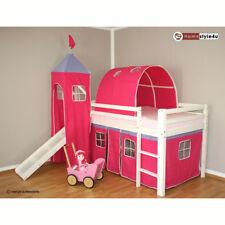 Lit superposes enfants mezzanine lit blanc avec rideau, toboggan, tour tunnel