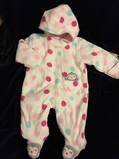 Nwt $23 Carter's Girls Infant 9 Mos 1 Piece Footed Hooded Quilted Outerwear Coat
