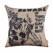 """18"""" Halloween Black Skull Skeleton Linen Cushion Cover Pillow Case Home Decor"""