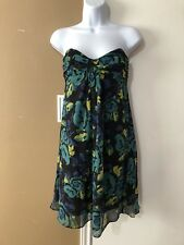 Betsey Johnson New York Sz 4 S Floral Green 100% Silk Strapless Sweetheart Dress