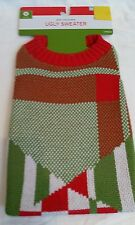 """Dog Christmas Holiday """"Ugly Sweater Knitted Pet Costume M Medium Red Green White"""