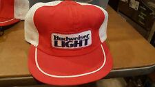 Vintage Budweiser Light Beer Patch Snapback Hat Cap Trucker Skate Hipster Mesh