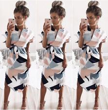 UK Womens Short Sleeve Asymmetric Split Evening Party Cocktail Casual Midi Dress