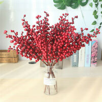 5 Branch Berry Mini Christmas Artificial Holly Berry Foam Fake Flower Home Decor