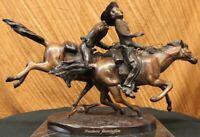 "Frederic Remington ""Wounded Bunkie"" Bronze Sculpture Extra Large Hot Cast Figure"