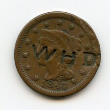 W H D OLD COUNTER STAMPED US 1847 LARGE CENT-CHEAP-L@@K REDUCED