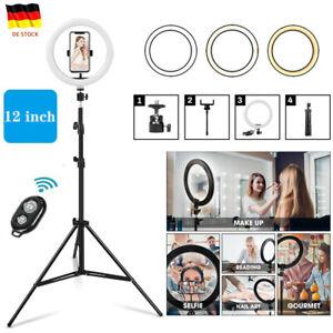 "12"" LED Ringlicht Ringleuchte Lampe Handyhalter Kit Selfie mit Stativ Fotografie"