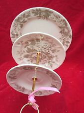 Antique Rose Wedding Cake Stand 3 Tier Serving Tray Nikko Plate 3 in 1