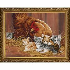 Nova Sloboda  CD3107  Poule et Chatons  Kit  Broderie  Point de Croix compté