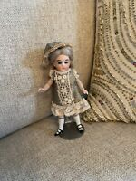 """All Bisque French 5"""" 2 Strap Shoes Mignonette Doll Cobalt Blue Eyes W 2 Outfits"""