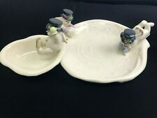 Lenox Fine Porcelain, Christmas, Holiday, Winter Snowman Chip and Dip Set, 2002