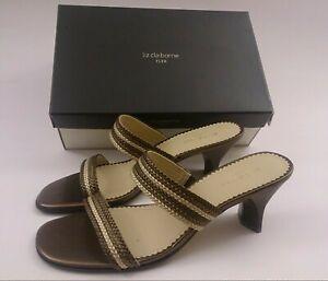 Liz Claiborne Flex Cabo Bronze Multi Double Strap Heels Womens Shoe Size 8.5M