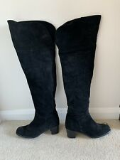 Russell Bromley Black Suede Over-the-Knee Boots - UK 6 / 39