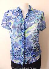 DUCHAMP Short Sleeve Floral Ruffled Blouse Size 12 - 16 (US 8 - 12)