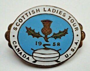 Rare Curling Pin - Scottish Ladies Tour 1958 Canada U.S.A.