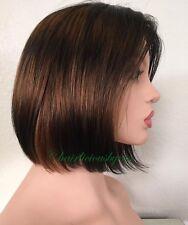 Bob Wig Human Hair Balayage Ombré Golden Brown Black 100 Percent Human Hair