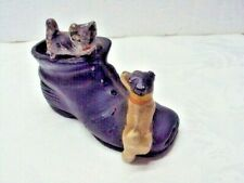"""Vintage Miniature Kitty and Dog Figurine in Shoe 3.5"""" x 2"""""""