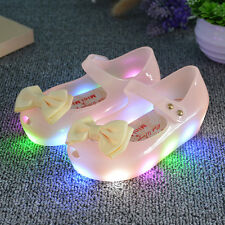 LED Girls Kids Toddler Baby Luminous Sandals Shoes Flat Light Up Princess Bow