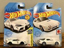 Hot Wheels - '20 Toyota GR Supra & '89 Mazda Savanna RX-7 (White) - LOT of 2