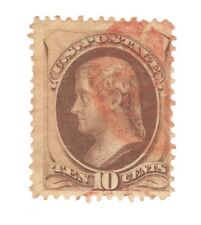 Scott 150 Early US Stamp 10c Jefferson ...1870-71.. Red Cancel   No Grill