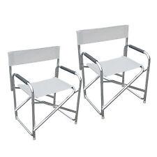 Set due sedie regista pieghevoli da esterni textilene bianco alluminio satinato