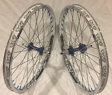 BMX BICYCLE WHEEL SET SUN TNT BICYCLES CHROME / BLUE DERRINGER, 24 inch - NEW