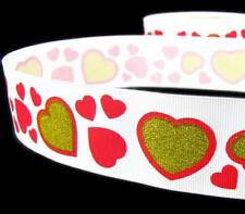 "5 Yd Valentine Red Gold Hearts White Grosgrain Ribbon 1 1/2""W"