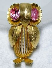 Large Vintage Gold Tone Caged Body Owl Pin Brooch~Pink Rhinestone Eyes~