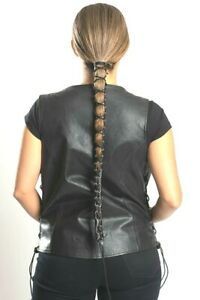 Hair Glove® Leather Lace Up Pony Tail Holder Long Hair 12""