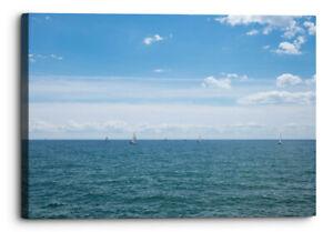 Blue Ocean Sky Seascape Sailing Horizon Canvas Wall Art Picture Home Decor