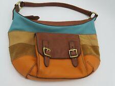 FOSSIL Multi Color Leather Stripe Patchwork Shoulder Bag Purse