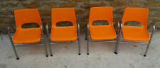 LOT DE 4 CHAISES ENFANTS VINTAGE ANNEES 70 COULEUR ORANGE ESTAMPILLEES