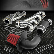 WRINKLE HEAT SHIELD COLD AIR INTAKE+SHORTY HEADER EXHAUST FOR 94-95 FORD MUSTANG