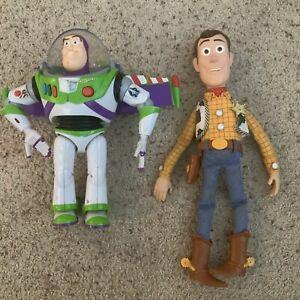 Toy Story Lot Of 2 Disney Pixar Talking Buzz Lightyear Figure Sheriff Woody Doll