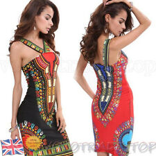 New Sexy Women Ladies Dress Summer Bodycon Traditional African Print Sleeveless