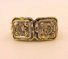 Twin, Two-Stone, Toi et Moi, Vintage Champagne Diamond Ring 14K Gold