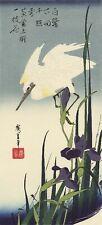 White Heron and Iris Hiroshige Woodblock Print