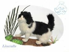 Standing Black & White Cat. Plush Soft Toy Feline by Hansa 4221
