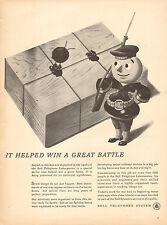 1943 WW2 AD Bell Telephone saves battle records Cartoon Sailor Phone Man 112616