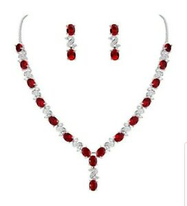 White gold finish love and kisses red ruby created diamond necklace and earrings