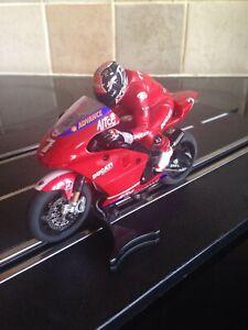 SCALEXTRIC MOTO GP CARLOS CHECCA No.7 DUCATI MOTORBIKE AND RIDER IN VGC