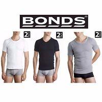 Bonds 2 PACK Mens Cotton Raglan Crew / V Neck Tshirt Tee Top White Black  Size