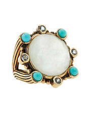 Stephen Dweck Turquoise Ring Mother Of Pearl Bronze Gold Tone Cocktail Statement
